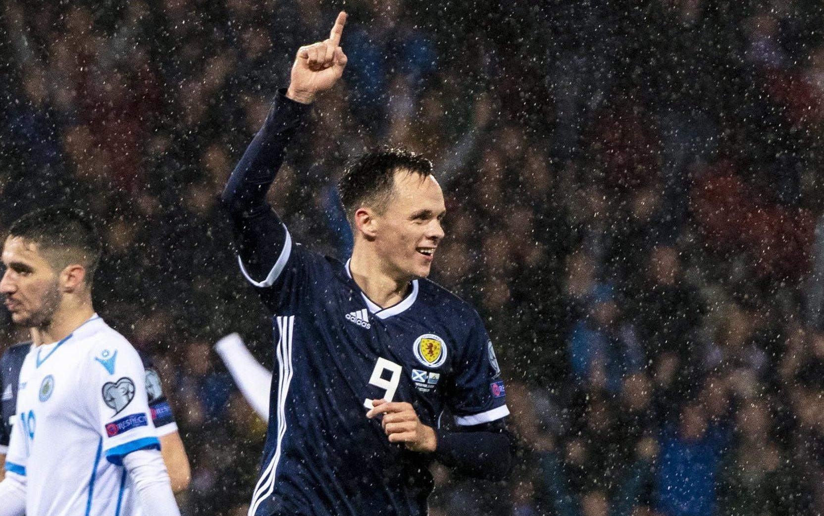 Lawrence Shankland celebrating his goal for Scotland against San Marino