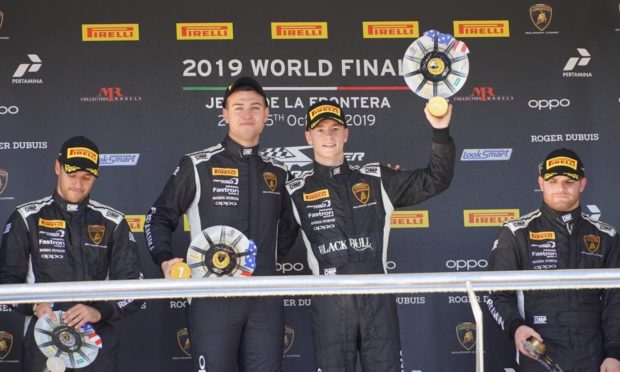 Sandy Mitchell (right) and Andrea Amici celebrate their race one win in Jerez.