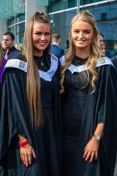 Amy Whitecross (21) from Dundee and Aileen Aird (19) from Crook of Devon graduating in Beauty Therapy.