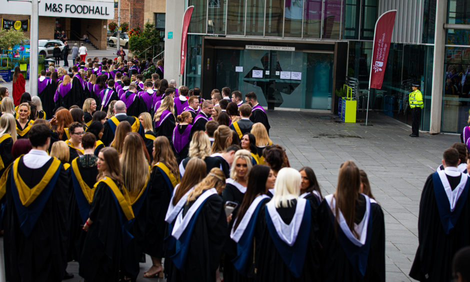 Students waiting to be called for Graduation Ceremony at Perth Concert Hall.