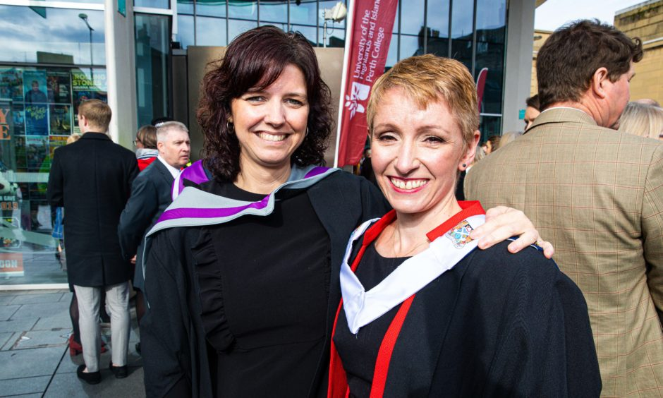 Lecturers Mura Camps and Kirsty Cassells both from Perth, graduating today in Post Grad Higher Education.