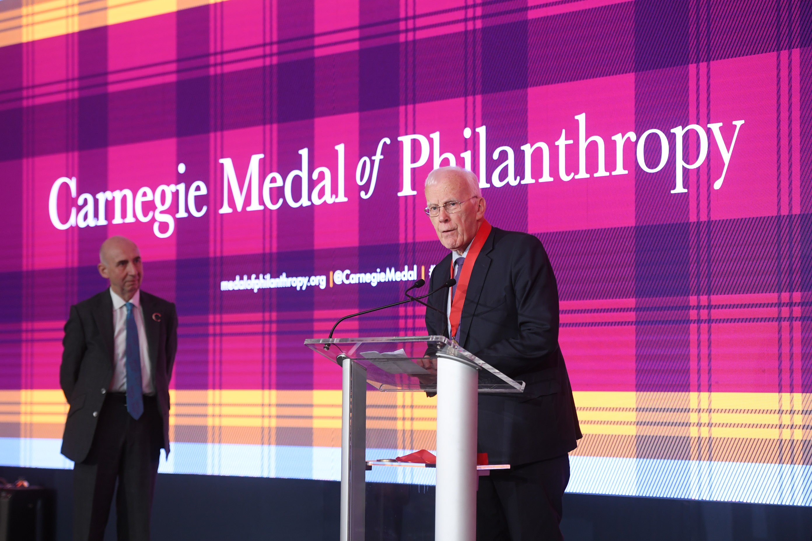 Sir Ian addresses the audience at the ceremony in New York.