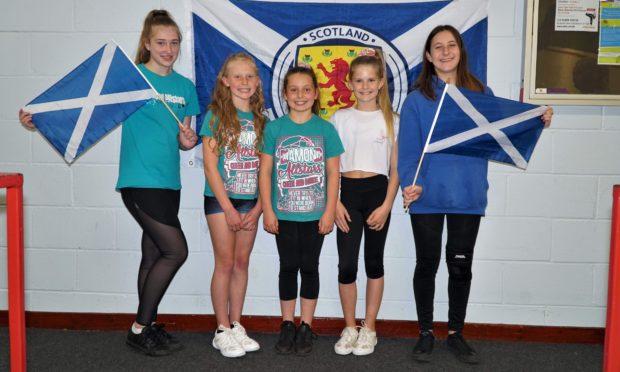 The Cupar girls pictured left to right: Maddison Gilmour, Summer McIntosh, Summer Wroniecki, Anna Gilfillan, Stephanie Laing.