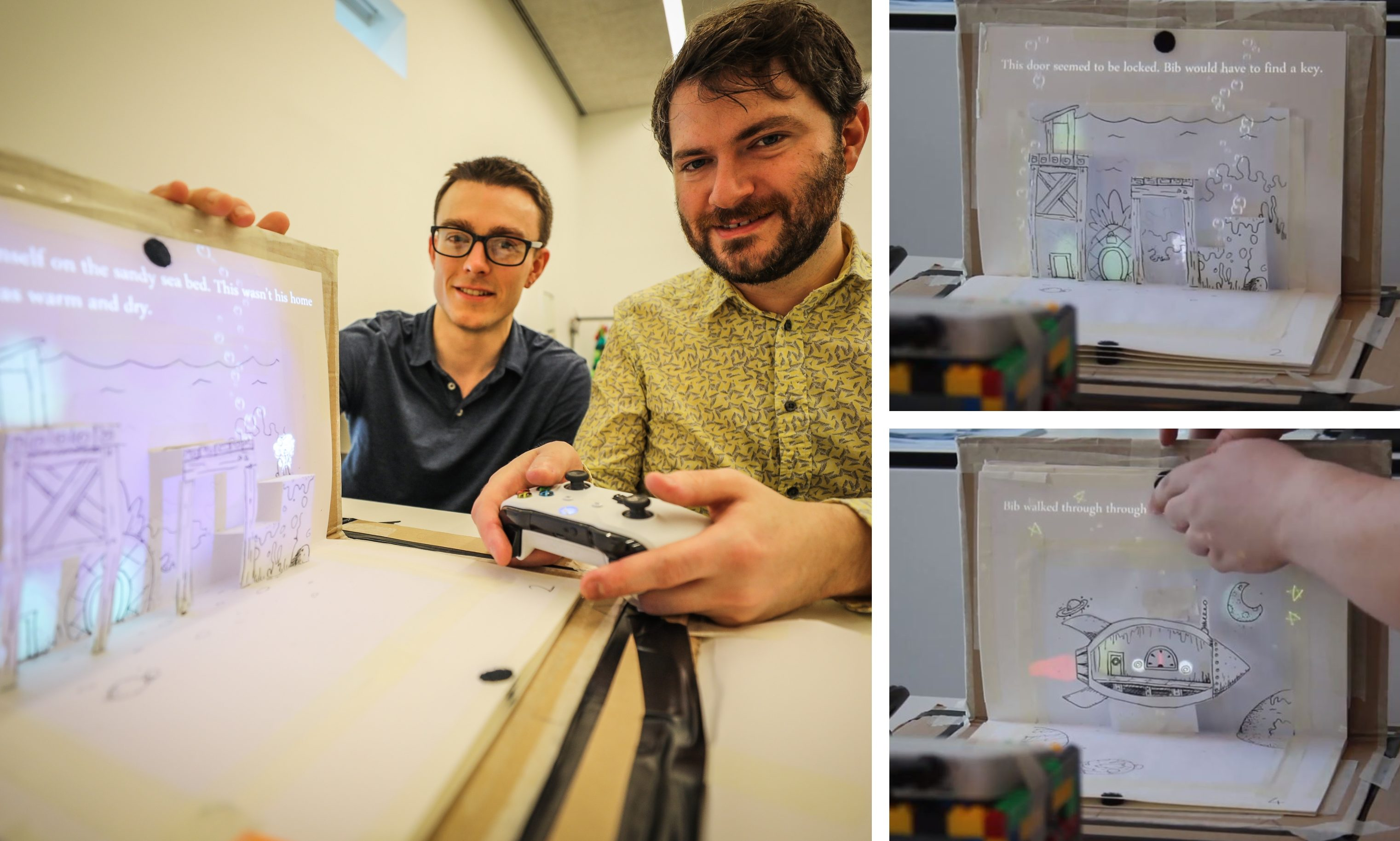 Alastair Low, artist and Matt Stark, programmer have created a unique game that combines pop-up books with platform gaming.