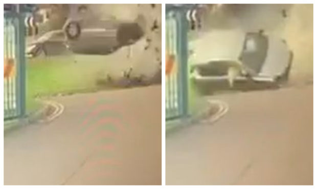 The car flies through the air at the Dundee roundabout.
