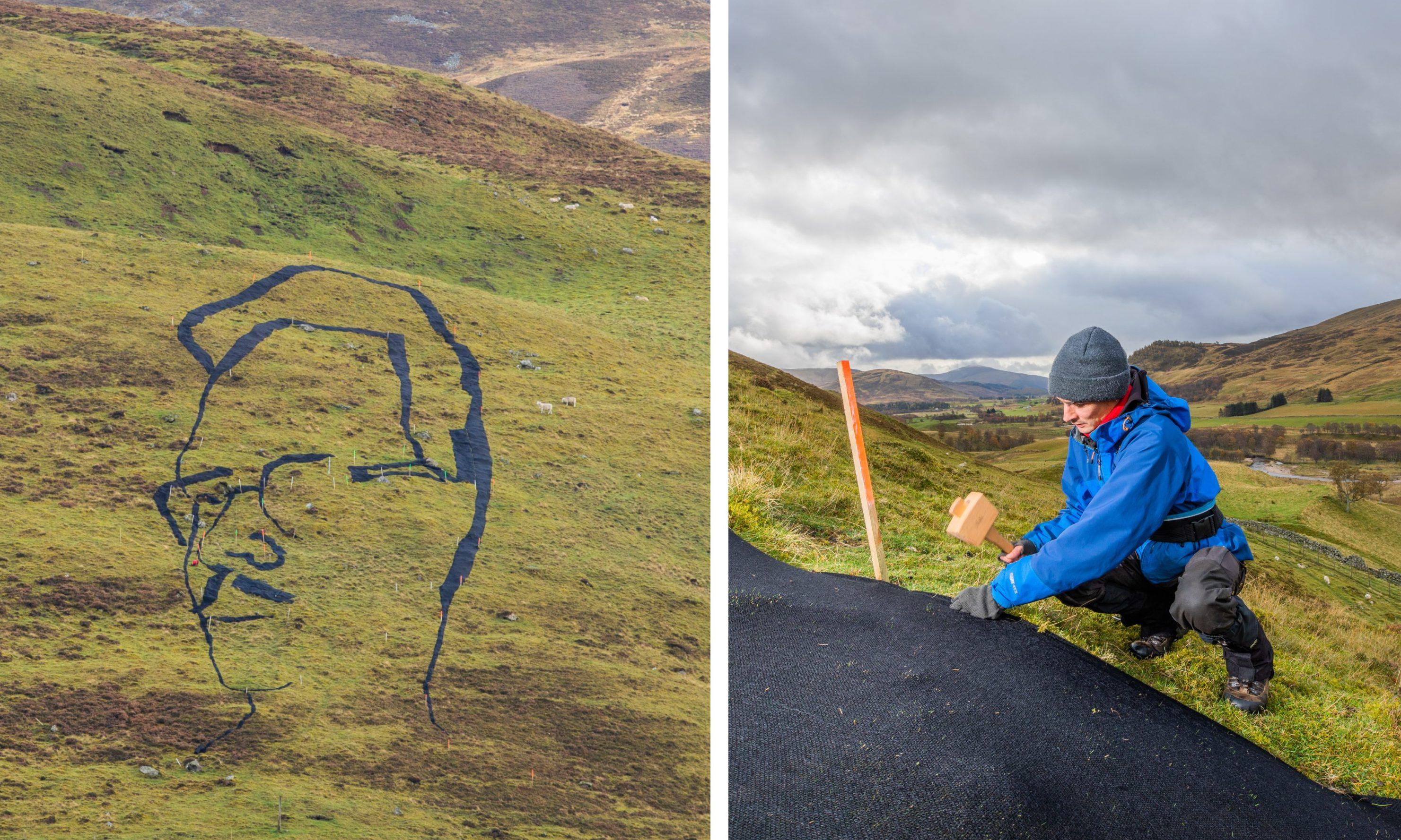 Martin McGuinness alongside his portrait of Hamish Henderson.