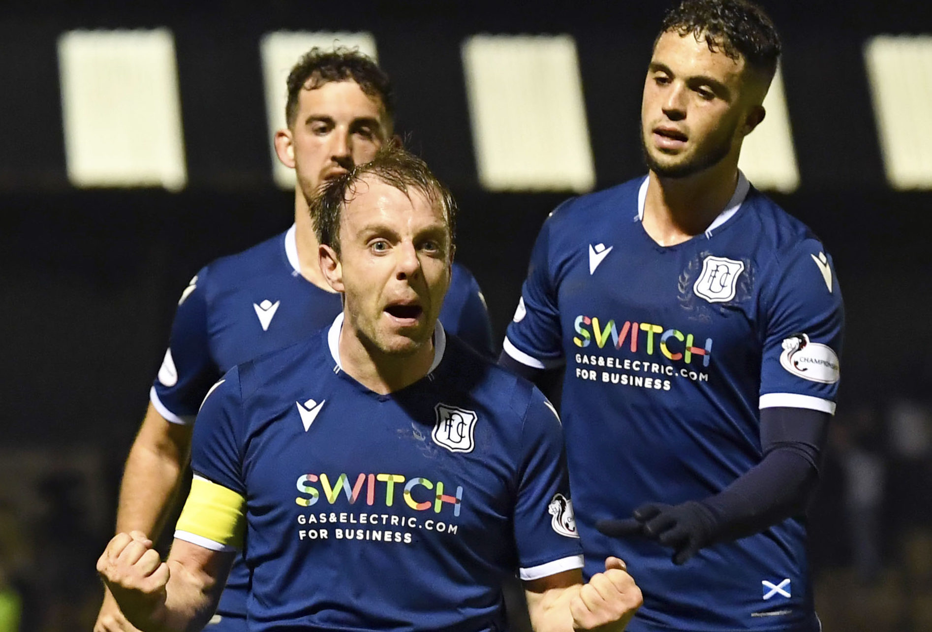 Paul McGowan celebrates his goal.
