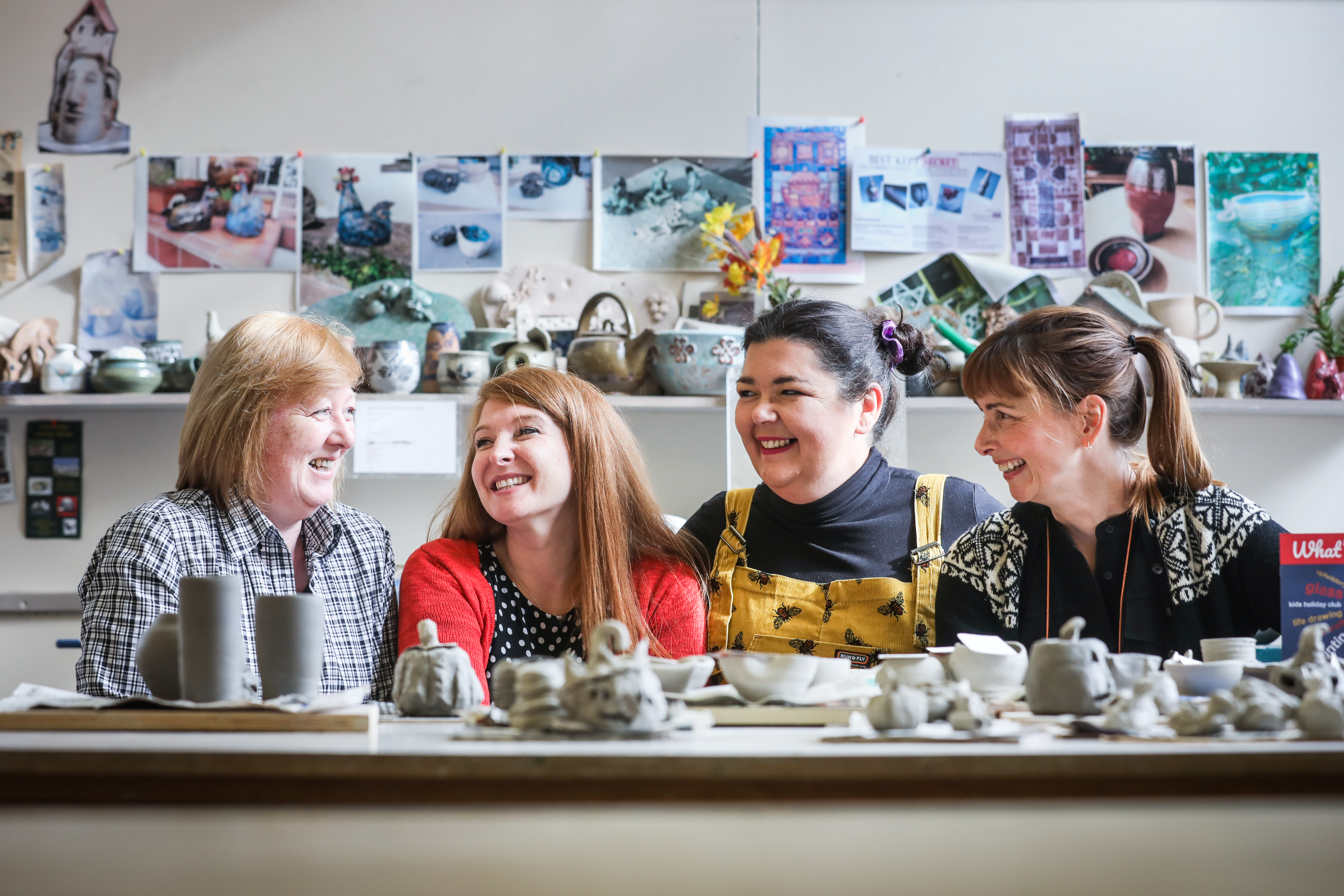 Carol Scullion, Forgan Arts Centre coordinator Alana Peden, chairwoman Lynsey Smiles and Kirsty Martin in their current premises in Newport.