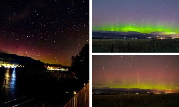 The Northern Lights in Perthshire. Photos on the right taken by Images of Scotland. The one on the left is by Bulldog Photography.