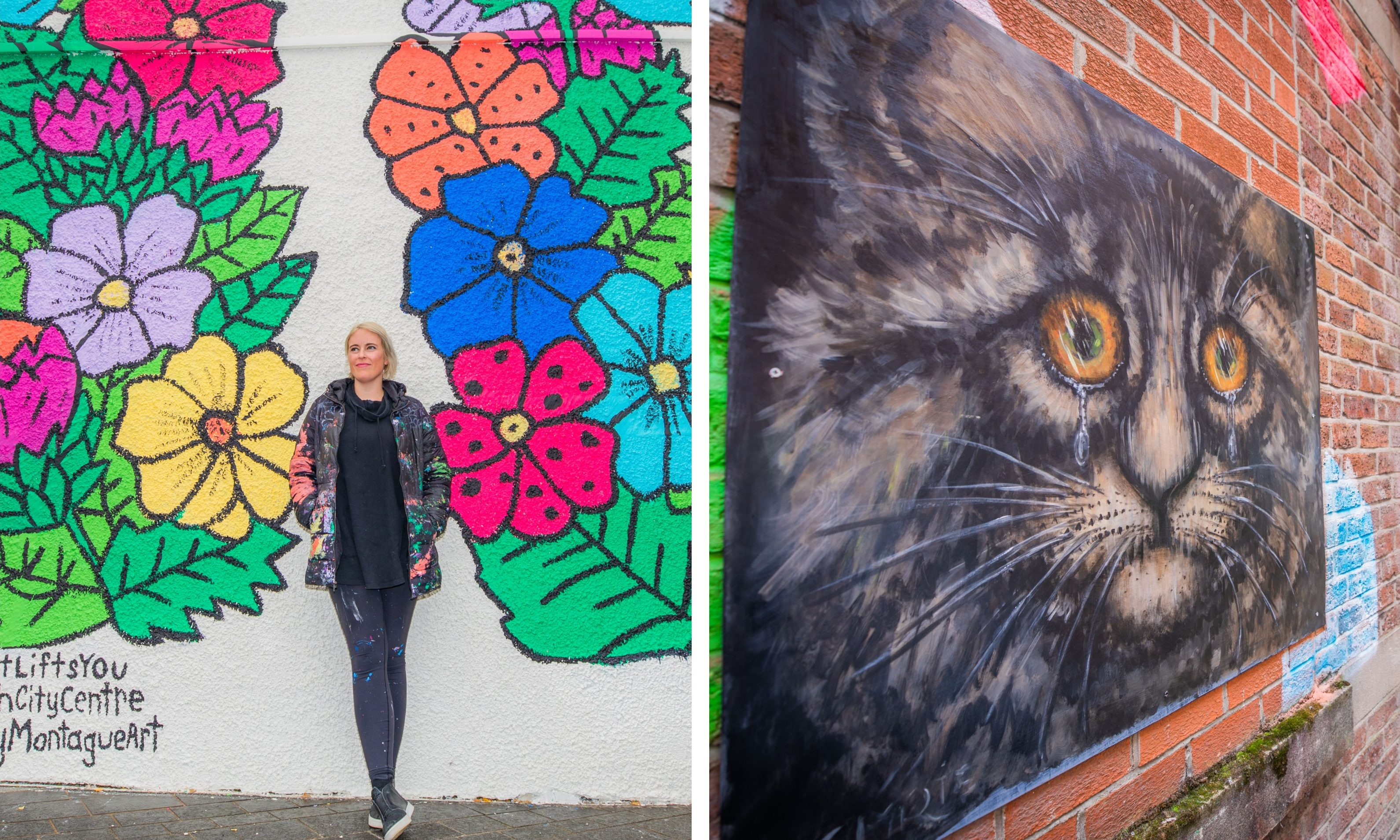 Left: Kelsy with her finished work in Perth. Right: Ian Imrie's art.
