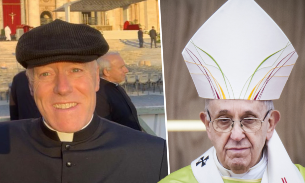 Father Jim Walls, left, Pope Francis.