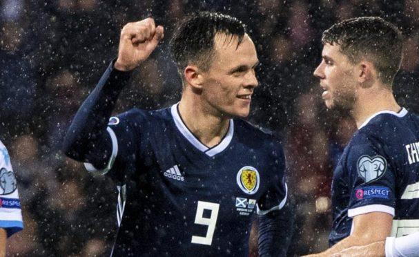 Lawrence Shankland celebrates his Scotland goal against San Marino.