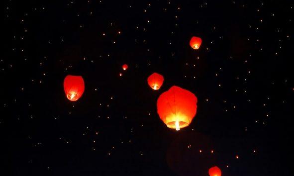 Sky lanterns.