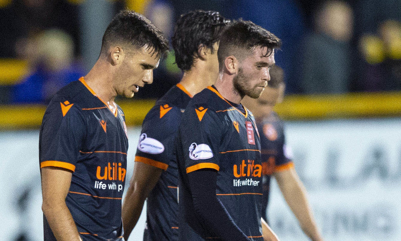 Dejected Dundee United players at Alloa.