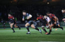 Oli Kebble rumbles in for Glasgow's fourth try in their big win over the Southern Kings.