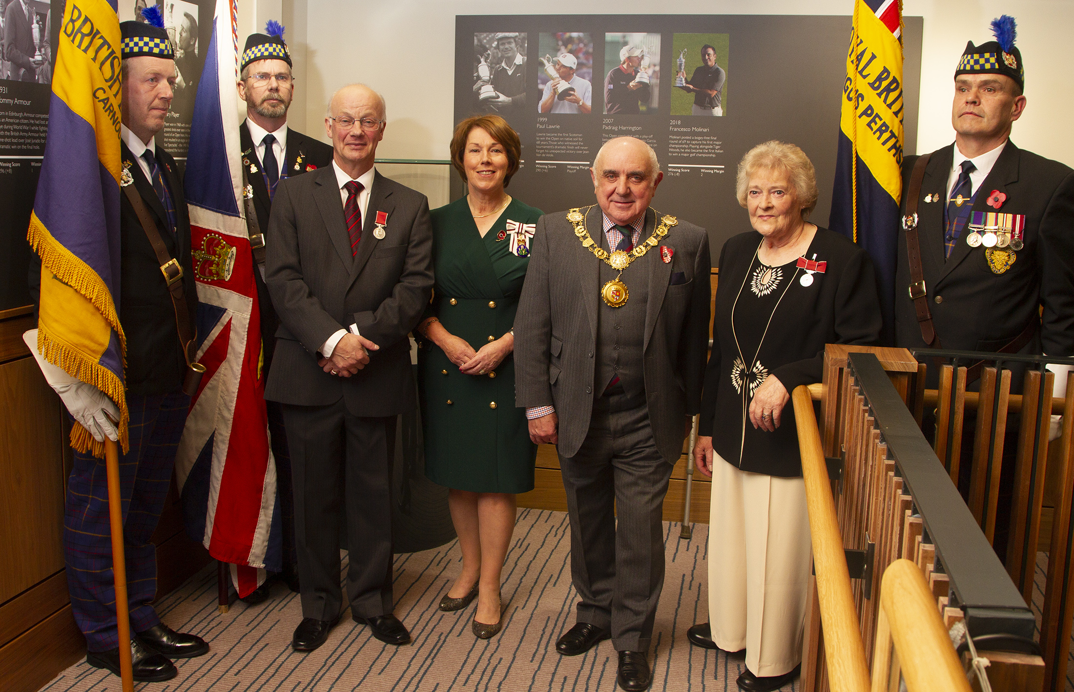 Mike Roberston and Kirsty Macdonald with Angus Lord Lieutenant Pat Sawers and Provost of Angus Ronnie Proctor along with British Legion Standard Bearers Callum Copland, Paul Thomson and Rab Cumming.