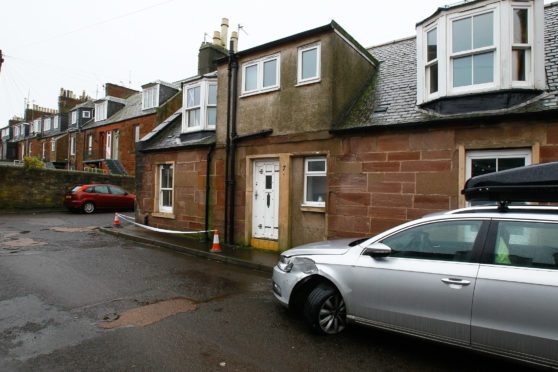 Jamieson Street into Garden Street, Arbroath, where cars and a house were hit by a lorry driver.
