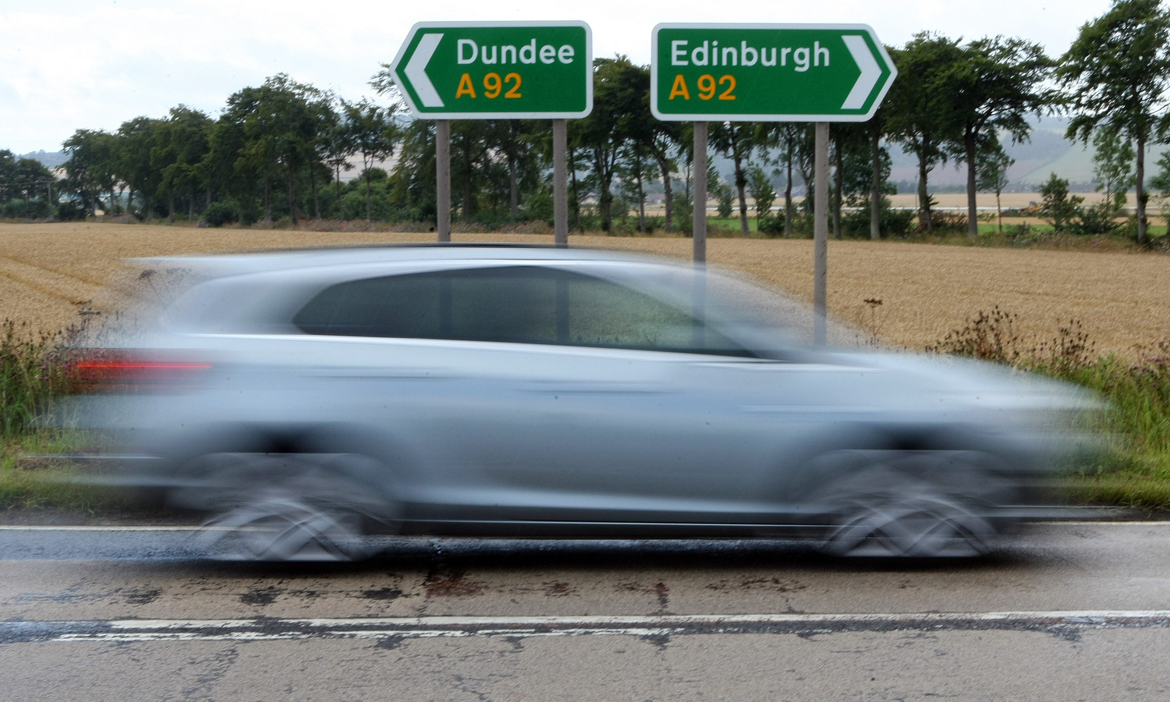 The A92 in Fife, near Ladybank.