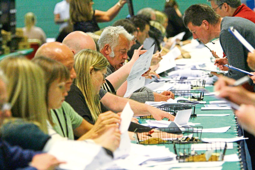 The European election count underway at Fintry Primary School, Dundee, in May 2019.