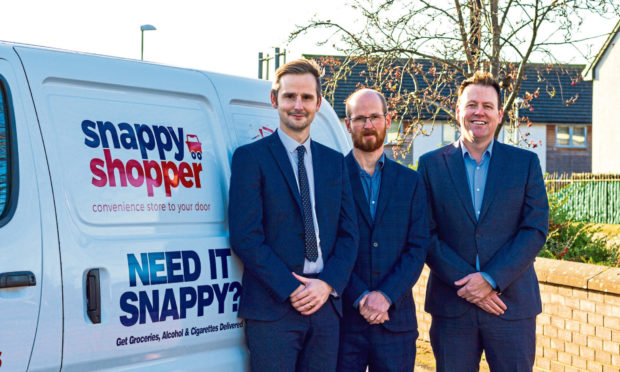 Snappy Shopper co-founder and chair Mike Callachan, with chief technical officer Alan Reid and Mark Steven.