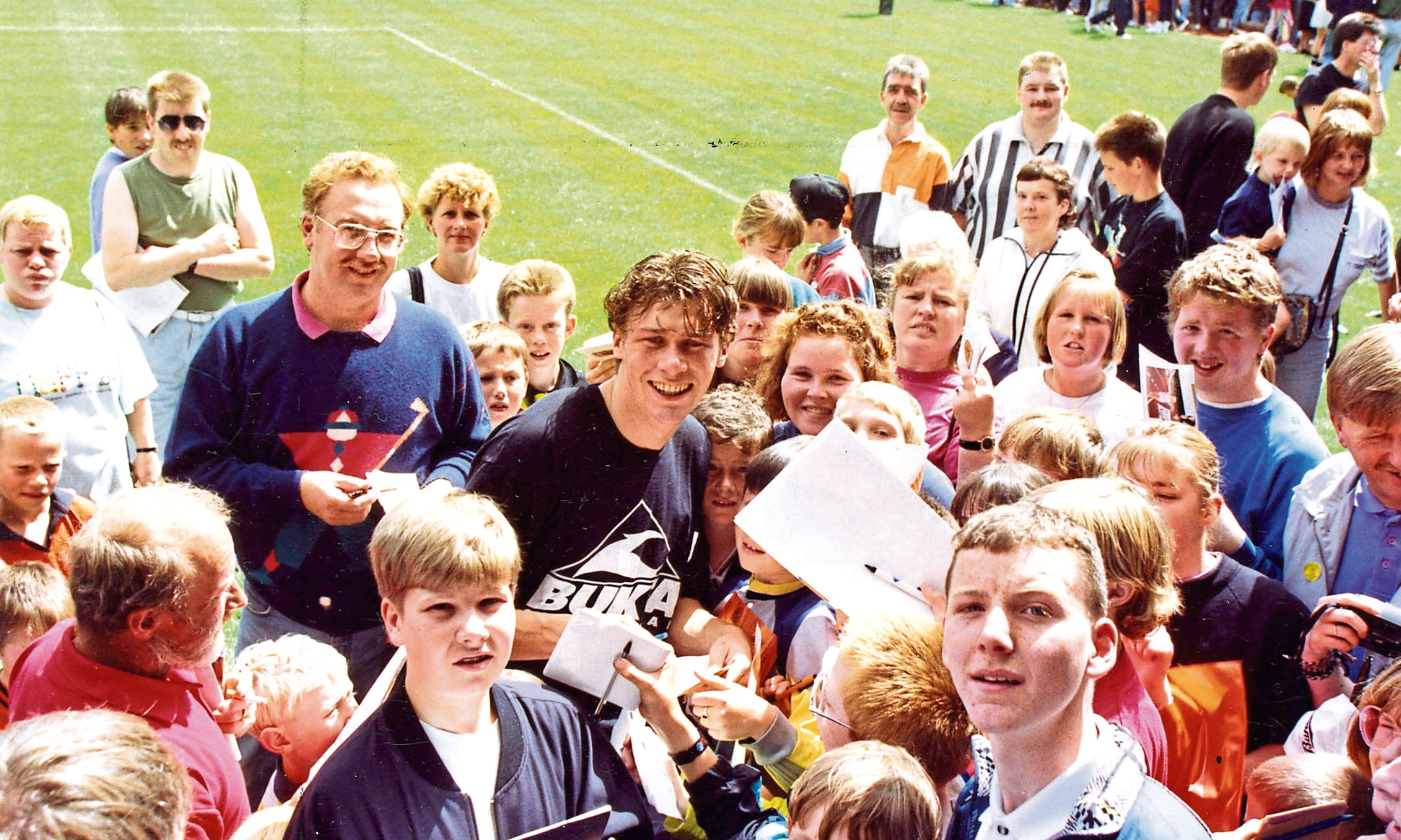 Dundee United Player Duncan Ferguson at a Tannadice open day in 1992.