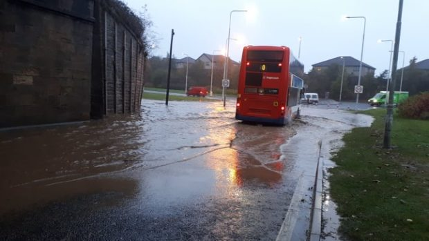 Flooding in Fife on Monday.