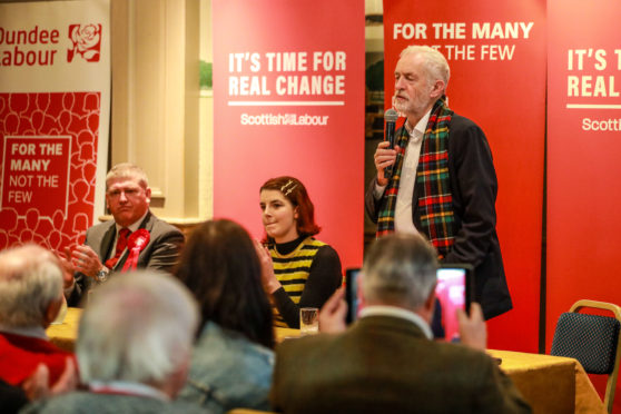 Jeremy Corbyn speaks to supporters in Dundee during the 2019 election campaign.