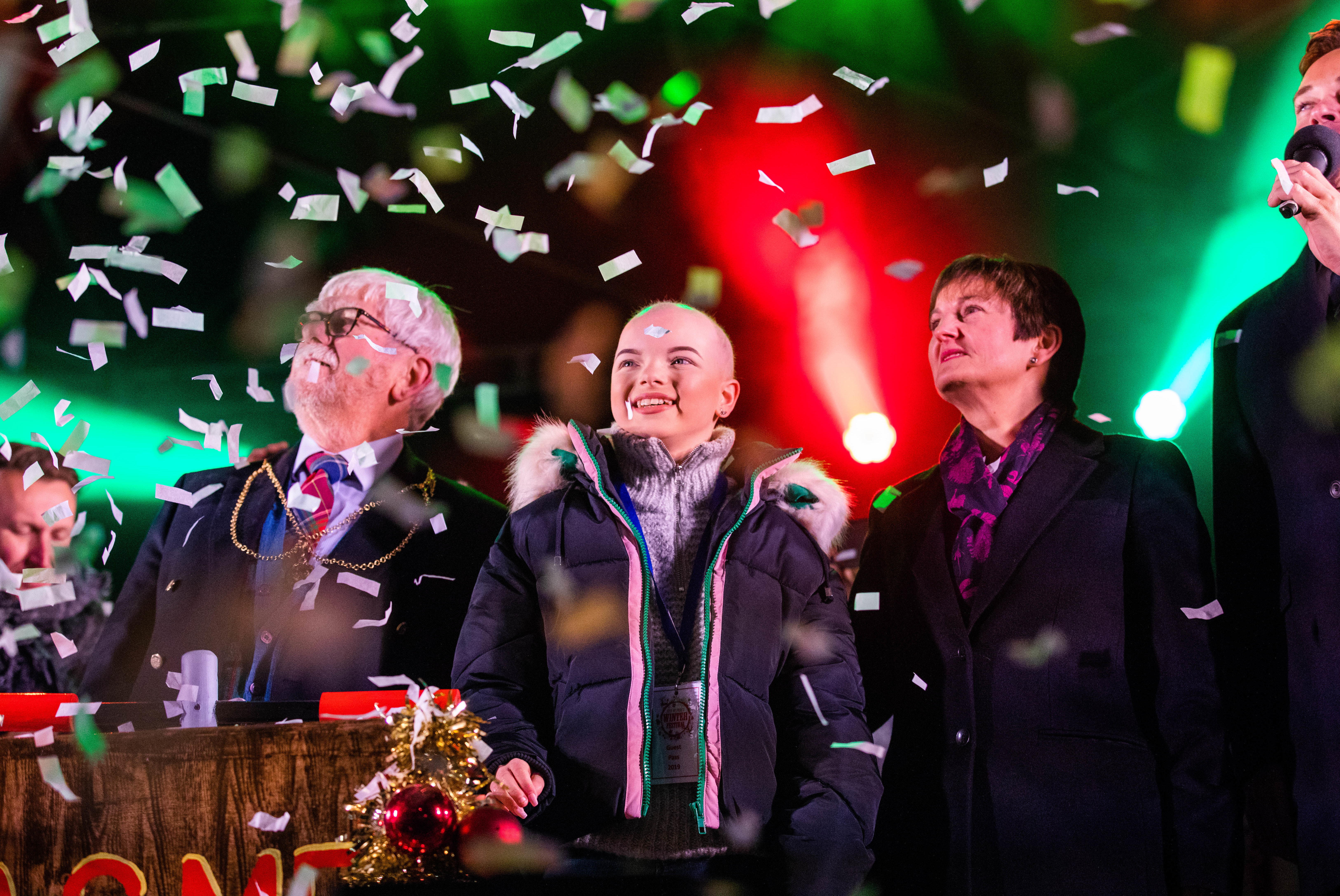 Provost Dennis Melloy, Lily Douglas and PKC Chief Executive Karen Reid at Saturday night's switch-on ceremony