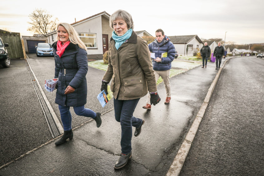 Theresa May canvassing in Rowan Avenue with local candidate, Kirstene Hair