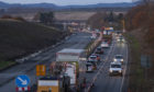 Tailbacks on the A9 between luncarty and Perth.