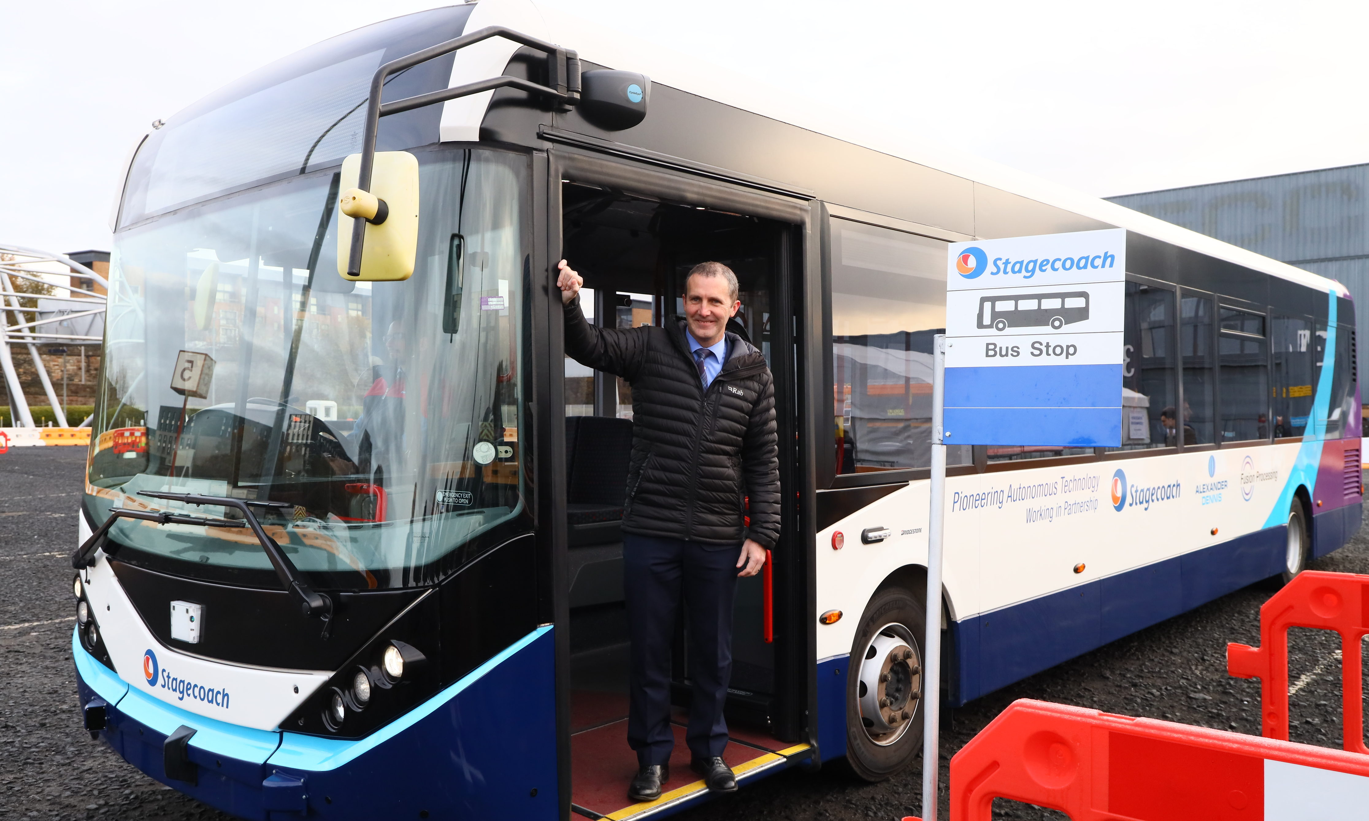 Michael Matheson on board the prototype bus.