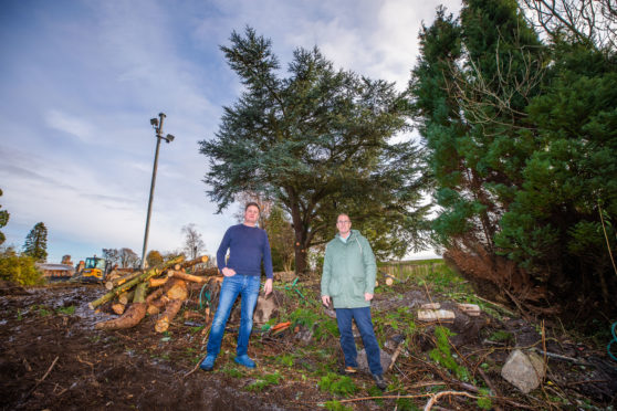 Richard McWhinney (left) and Peter Flett and trees marked for the chop