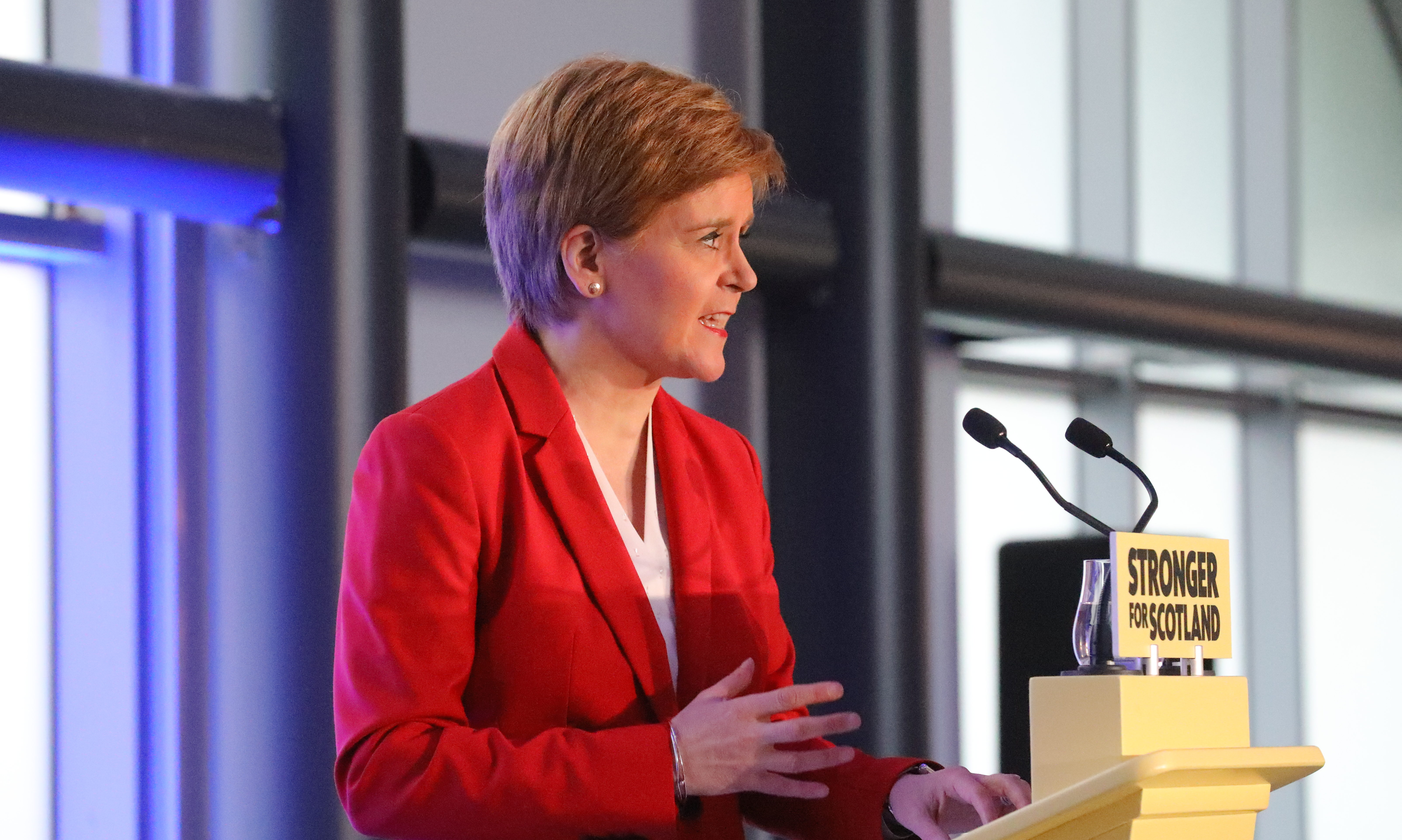 Nicola Sturgeon giving her speech in Dundee on Wednesday.