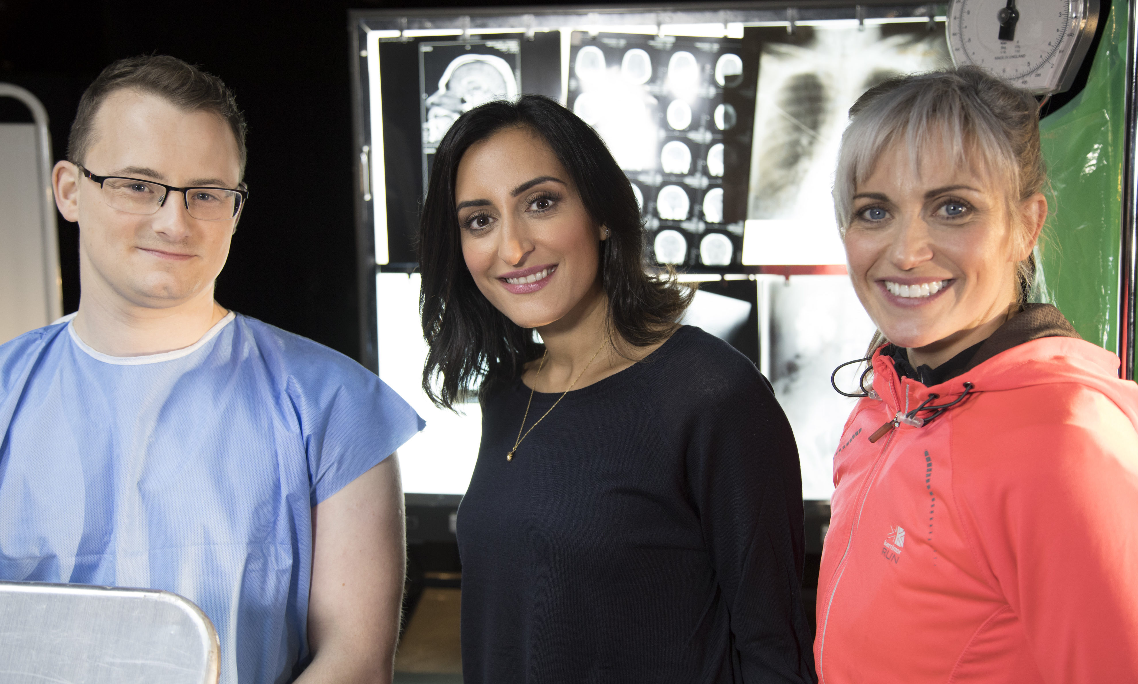 Ryan O'Connor from Airdrie with Dr Punam Krishan and Marie Ladbrook from Montrose.