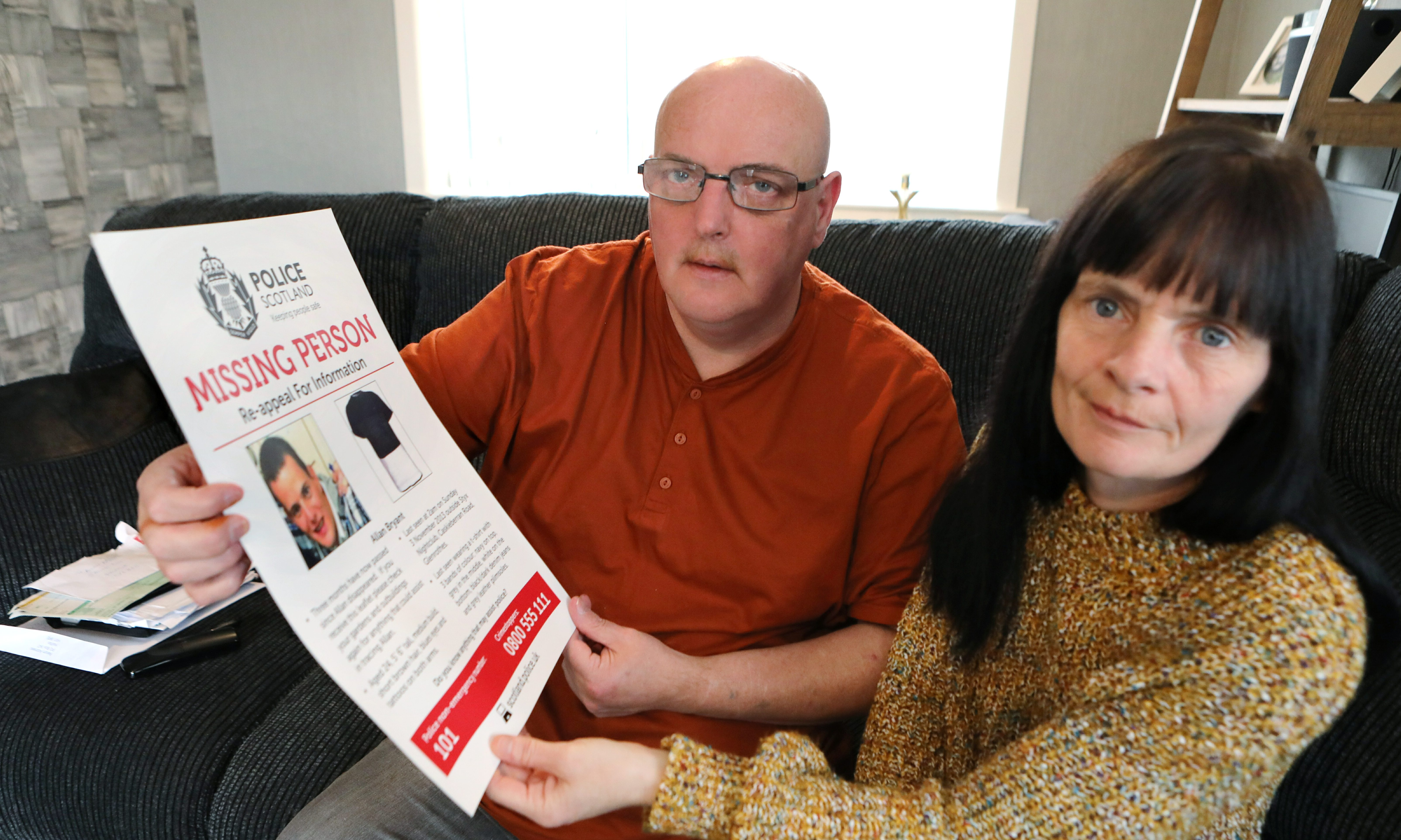 Allan Bryant Snr & his partner Marie Degan pictured at home in Glenrothes.