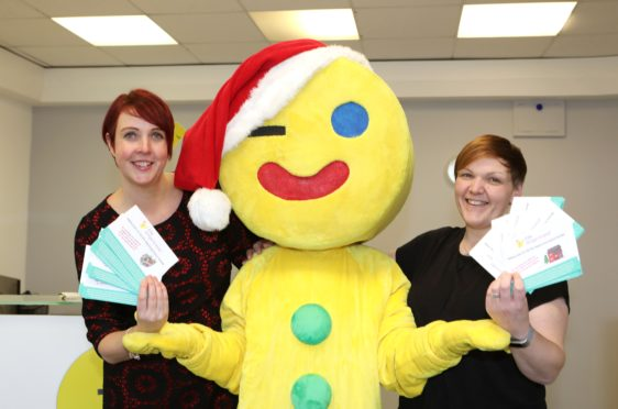 Staff members Jacqui Hardie and Kerry Jones launch the campaign with Fife Gingerbread mascot Gingey.