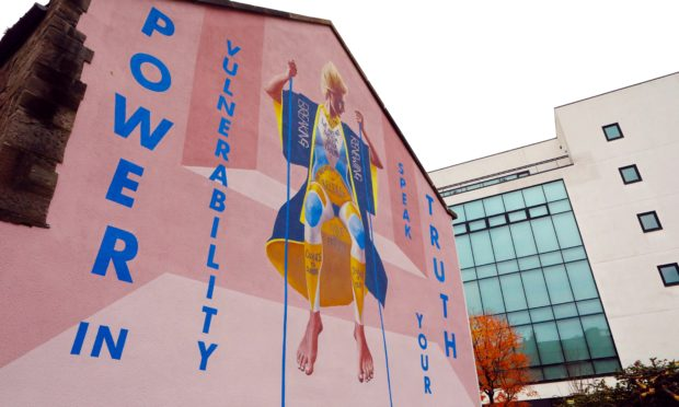 A huge mural by The Fandangoe Kid and Kirsty Whiten on Tay Street Lane.
