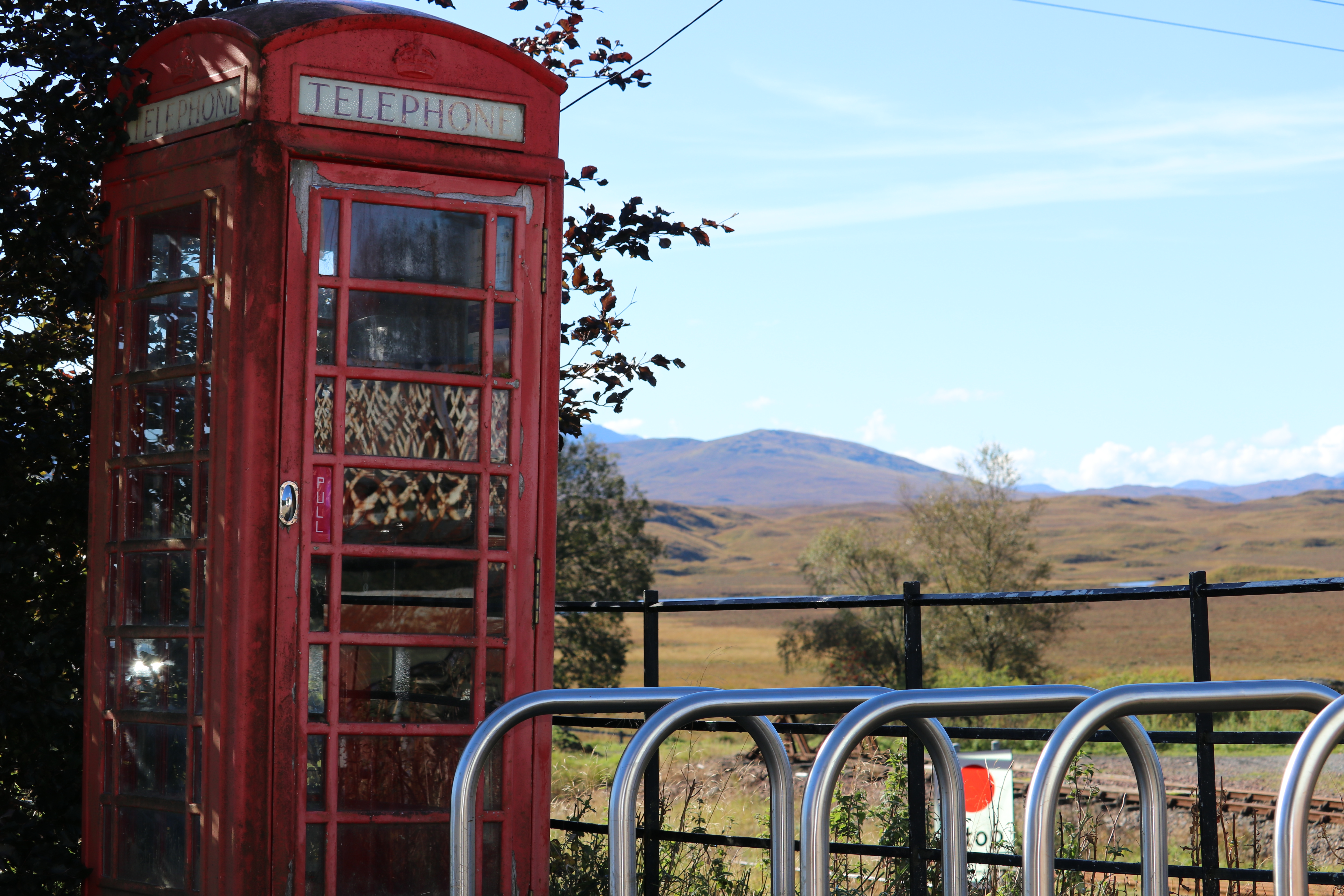 An under-threat phone box at Rannoch station.