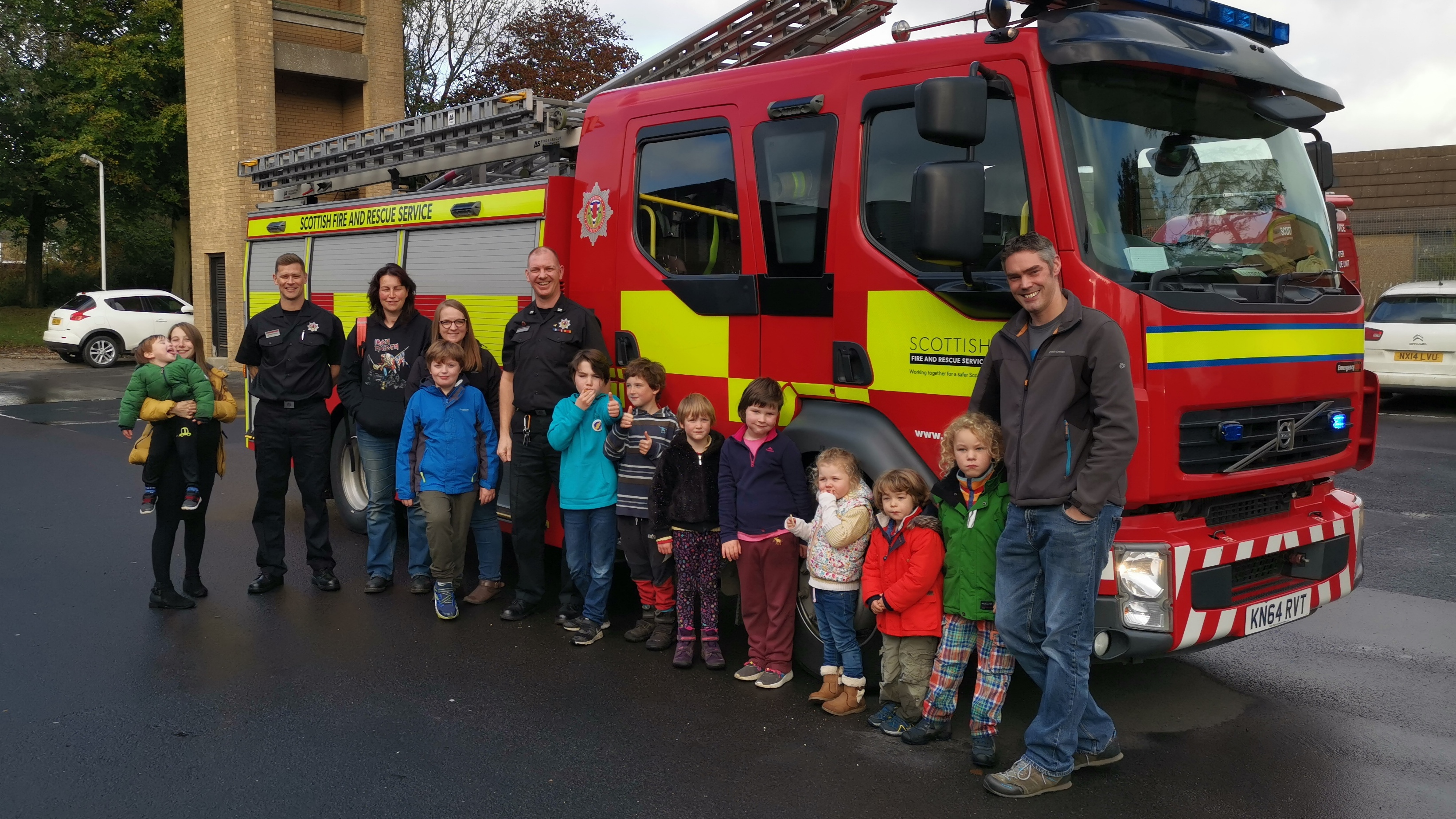 Firefighters with some of the pupils.