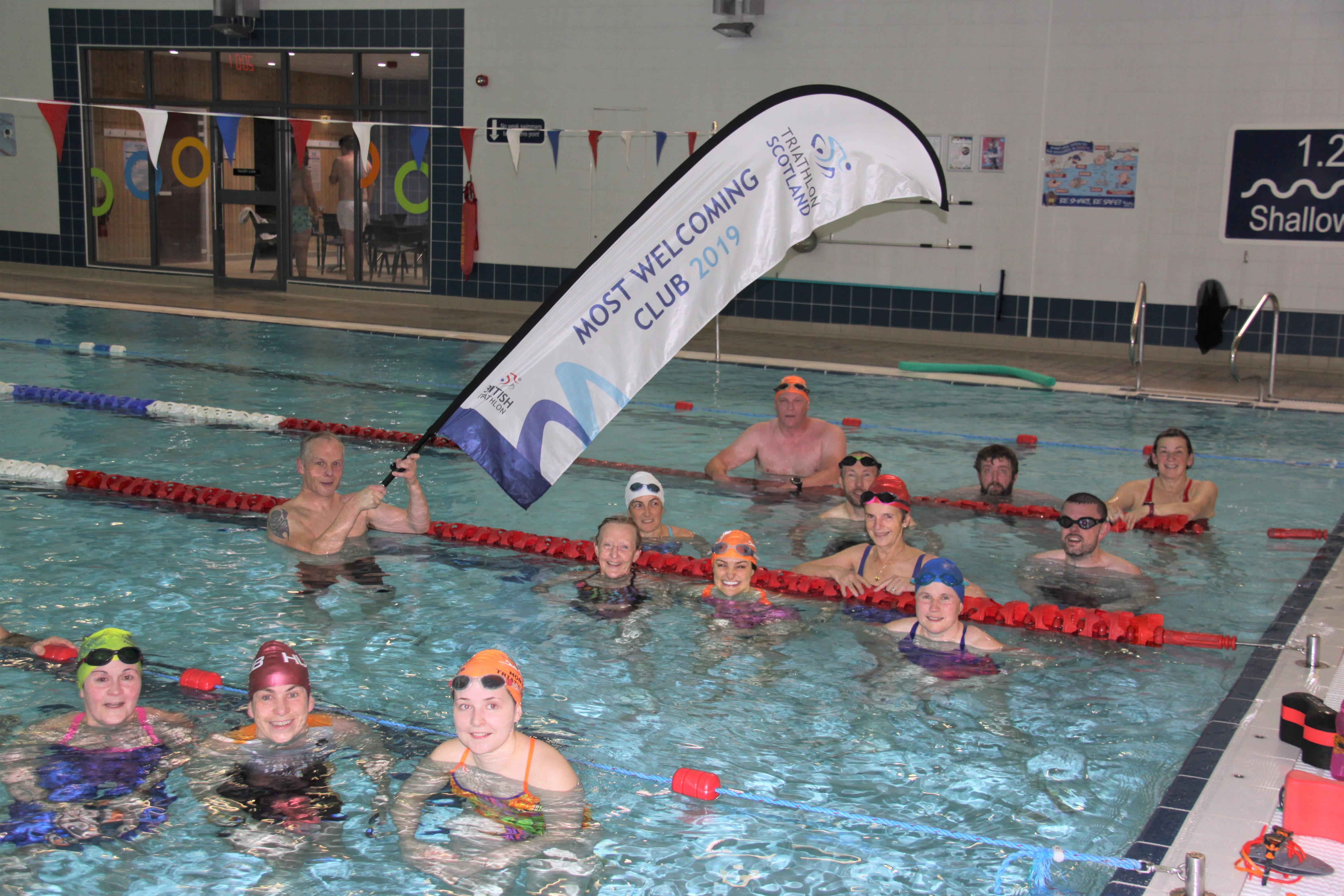 Montrose Triathlon Club celebrate success at this week's swim training session.