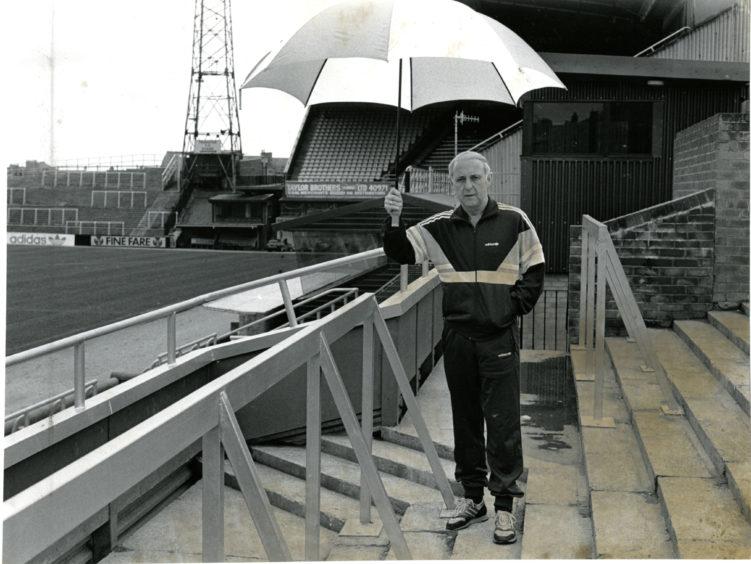 Jim McLean pictured at his beloved Tannadice.