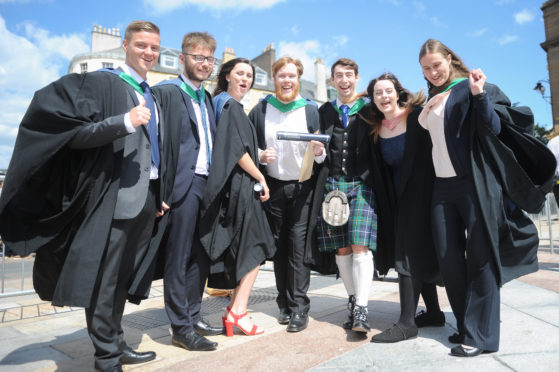 Students from Abertay's Summer graduation.