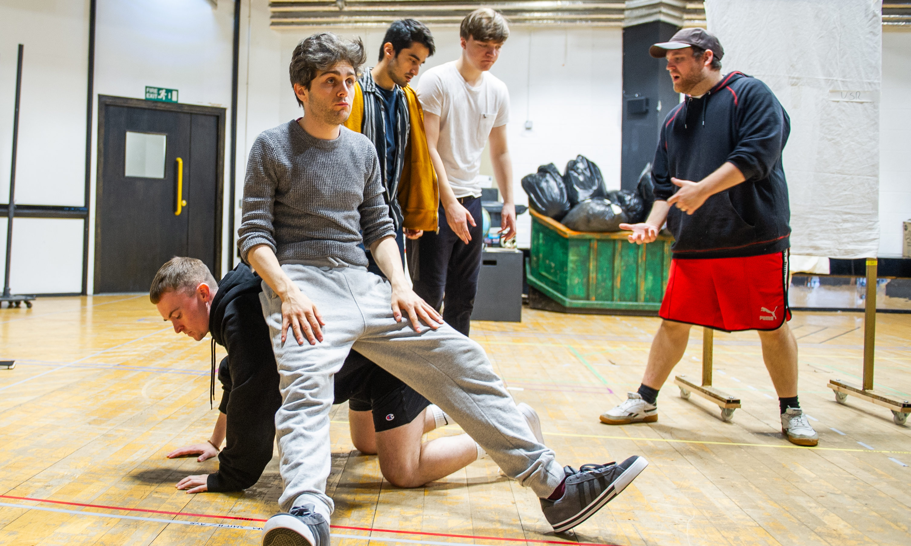 The cast of Oor Wullie during rehearsals at Dundee Rep.