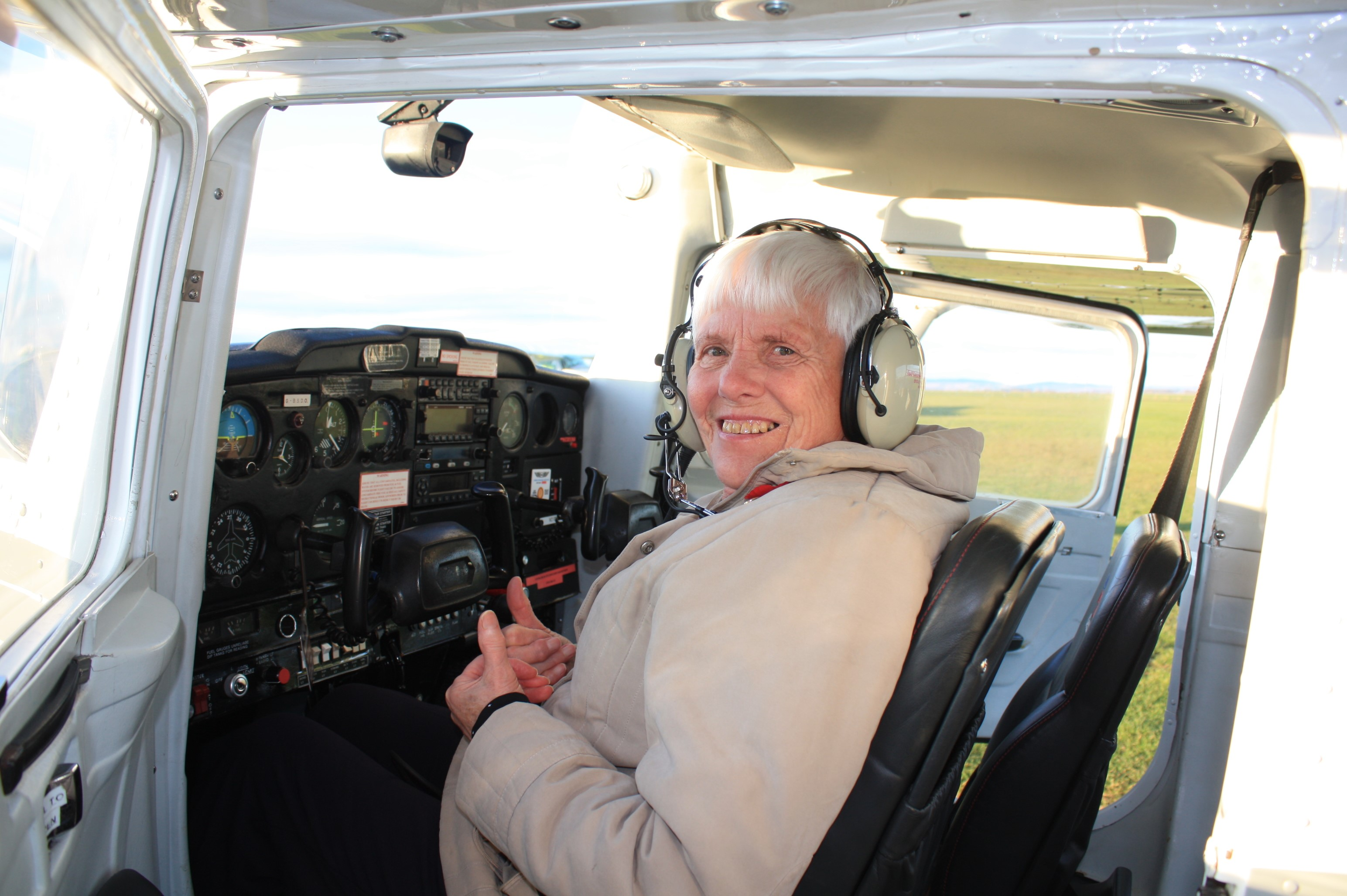 Mabel in the plane she flew for her 80th birthday.