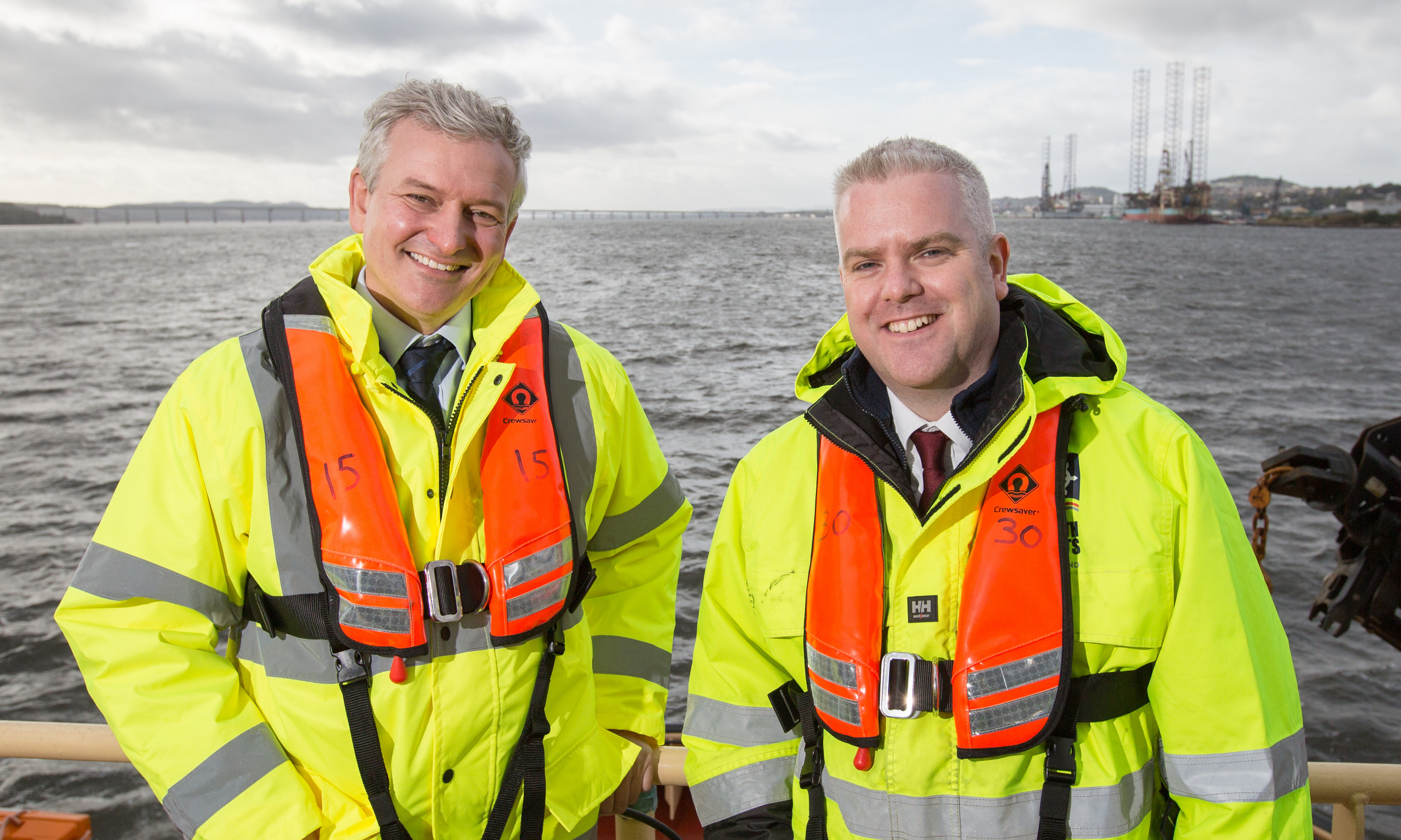 Matthias Haag, NnG project director, and David Webster, Forth Ports senior manager.