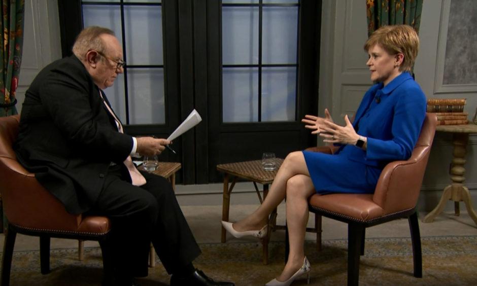 Nicola Sturgeon being interviewed by Andrew Neil on BBC.