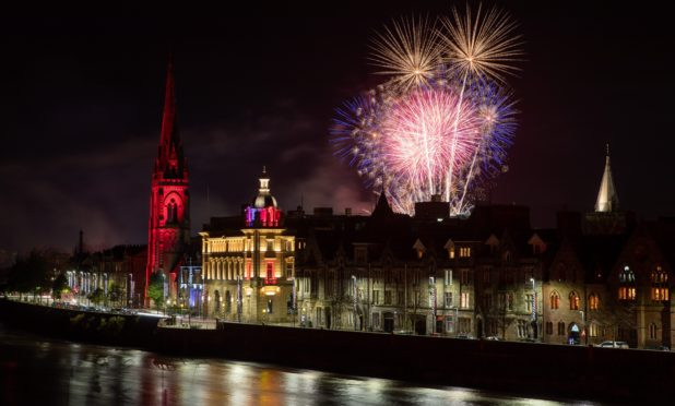 Fireworks over Perth city centre