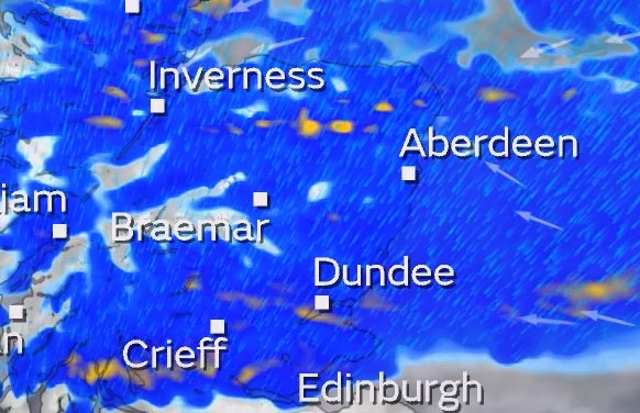 Rain forecast for Dundee and Angus on Wednesday.