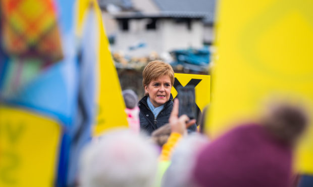 Nicola Sturgeon addresses supporters in Arbroath.