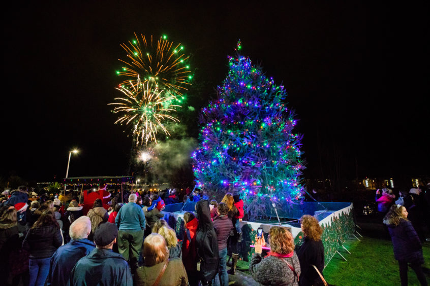 The fireworks display with the lit-up Christmas tree in the foreground.